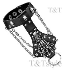 TTstyle Punk Skull Hand Black Leather Finger Link Bracelet Wristband (PK45)