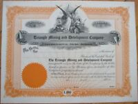 1910 Stock Certificate: 'Triangle Mining & Development Company' - Montana MT