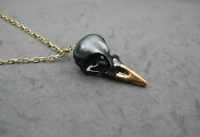 Antique Gold Magpie Bird Skull Replica in Black&Gold Necklace Jewellery Gift