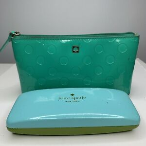 Kate Spade Lot Of 2 Cosmetic Bag Eye Glass Case Green Make Up Travel Case