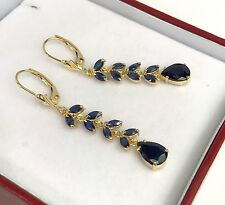 14k Solid Gold Leverback Long Leafs Dangle Earrings, Natural Sapphire