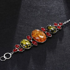 Amber Colors AntiqueBaltic Bracelet YellowBangle Vintage Bracelet Silver