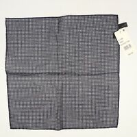 NEW Bloomingdales Silk Cotton Pocket Square Navy Blue White Pindot Rolled Edge