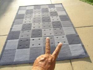 Vintage Calvin Klein 100% Viscose Blue Shades Squares Area Rug 67x91 Inches #2