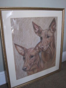 A Pastel Study of a Pair of Terriers JL
