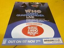 THE WHO - Publicité de magazine / Advert TOMMY AND QUADROPHENIA LIVE  !!!!!!!