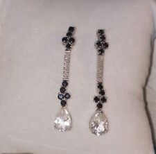 Chuck Clemency NYCII black white zircon dangle long sterling silver Earrings