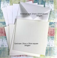 BLANK WHITE 20x20cm Square Cards + Envelopes Wedding Party Birthday Invitations