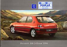 Peugeot 306 3-dr 1994 UK Market Foldout Sales Brochure XN XL DTurbo XS XSi S16