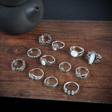 12pcs Bohemia Tibetan Stone Women Boho Knuckle Midi Finger Rings Arrow Flower Silver