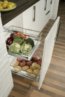 SOFT CLOSE PULL OUT BASE STORAGE LARDER BASKETS CHROME 300MM TO 600MM TO CHOOSE