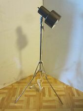 "Mid Century Atomic Metal Tripod chrome floor lamp Adjustable 32"" 58"" tall Vtg"