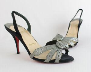 Christian Louboutin Auth Black Silver Satin Leather Crystal Heel Shoe 36 6