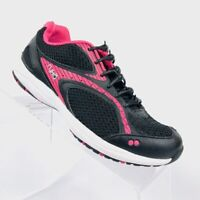 Ryka DASH 2 Womens Black mesh leather Pink accent running shoes Sneakers Size 6.
