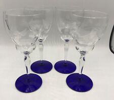 "4 WESTON WGL19 LEAF ETCHED 7 3/4"" Water Wine Glass Optic Cobalt Blue STEM FOOT"