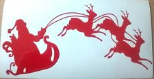 santas sleigh reindeer merry christmas xmas car vinyl sticker graphic wall art