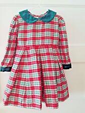 Strasburg Silk Long Sleeve Holiday Dress, Velour Detail, Christmas Plaid Size 3