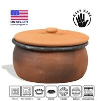 Cooking Pottery Pot with Lid, Twice Baked Sturdy Terracotta Roaster for Stovetop