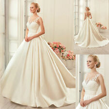 Lace Satin Backless Ball Bridal Gowns Wedding Dresses Sleeveless Plus Size 6-28+