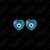 925 Sterling Silver Evil Eye Greek Mati Turkish Nazar Mini Heart Stud Earrings