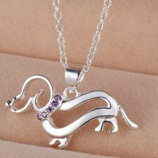925 Sterling Silver Fashion Jewelry Pendant Dachshund & Chain Necklace.