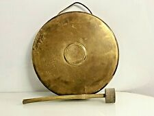 Original Old Antique Vintage Nautical Brass Clamorous Semi Drum Bell With Hammer