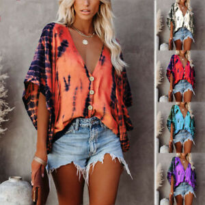 Women Summer V Neck Kimono Sleeve T Shirt Loose Button Blouse Casual Tie-dye Top