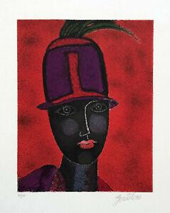 Franco GENTILINI Ritratto di donna 1980 litografia originale firmata
