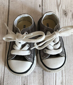 BABY CONVERSE ALL STAR LOW-TOP TRAINERS Infants Size 3 Mid Slate Grey Boys' VGC