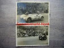59) 2x Foto 1952 HALLE SAALE Schleife Rennbahn, Autorennen - Rennwagen, Motorrad