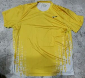 Nike Rafael Nadal 2011 Miami Open Yellow Shirt Men's Size 2XL 405979-719 RARE!!!