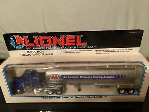 Lionel Marathon tractor and tanker 6-12869 PERFECT O AND O27 GAUGE TRAIN LAYOUTS