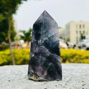 154g    Natural Fluorite Quartz Mineral  Obelisk Wand Point Healing   DLA94
