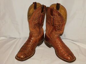 VINTAGE LUCCHESE BROWN ALLIGATOR BOOTS SIZE 8 1/2EE