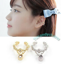 Made in Korea Royal Tear Drop GEM non-pierced Ear bone Clip-on Cuff White Gold