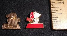 Set of 2 Vintage UFS Enameled Peanuts Snoopy Red Baron Character Metal Buttons