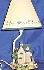 VINTAGE TABLE LAMP COTTAGE OF CARVED ACRYLIC  HAND PAINT NEW IN BOX 1980's