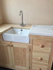 BABY BELFAST WHITE CERAMIC SINK WITH CHROME WASTE AND OVERFLOW KIT AND DRAINER