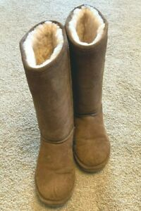 Womens Bearpaw Elle Tall Boot Sz 9 Tan Excellent Used Condition