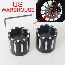 Black Contrast Cut Front Axle Nut Cover for Harley Dyna Softail V-Rod Glide US