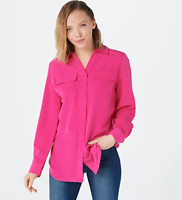 Denim & Co. Roll Tab Sleeve Button Front Soft Utility Tunic - Summer Pink - 3X