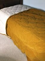 Vintage Sears Bedspread 60s Gold Quilted Velvet Oversized Fitted Twin 110x100