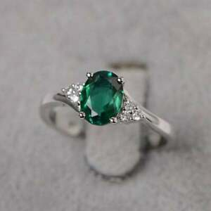 925 Sterling silver Oval Green emerald Handmade May Birthstone Ring Size 5