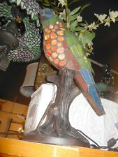 """Limited Edition Stained Glass Parrot on Bronze Tree 18"""""""