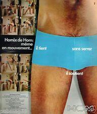 Publicité advertising 1975 Sous Vetements slip Homme HOM