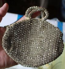 Small antique glass beaded women's handled evening bag with zipper