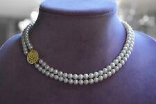 "MING'S Honolulu 2 Strands 5.5mm AKOYA Pearls Necklace 14k PHOENIX Clasp 15 1/2"""