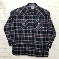 Ely Cattleman Men's Plaid Flannel Shirt Jacket XL Pearl Snap EUC