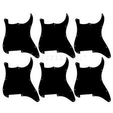 6 Guitar Blank Pickguards Scratch Plate for Fender Strat Stratocaster 3Ply Black