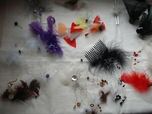 Job lot  fascinatior with feather/bead/button clips/comb detailing never worn.